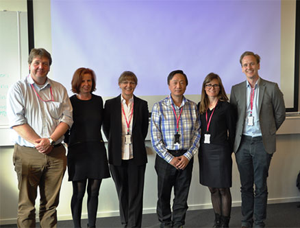 Invited speakers (from left): Christoph von Hahn (I:Collect / SOEX), Sylvia Happel (Lenzing Fibers), Corona Bregenzer (Lauffenmühle), George Yang (Pepwing), Elin Larsson (Filippa K), Henrik Norlin (Re:Newcell & Girindus)